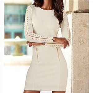 Venus Gold Zippered Sleeves Bodycon Dress - 10
